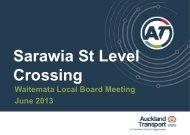 AT Presentation to the Waitemata Local Board 11 June 2013 Meeting