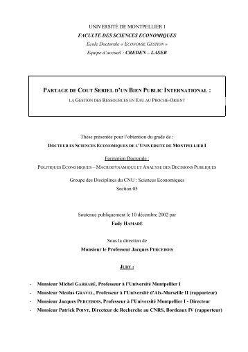 UNIVERSITÉ DE MONTPELLIER I FACULTE DES SCIENCES ...