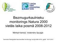 Bezmugurkaulnieku monitorings Natura 2000 vietās laika posmā ...