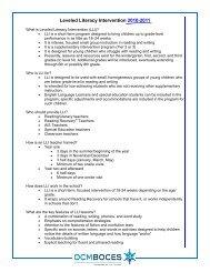 Leveled Literacy Intervention 2010-2011 - OCM Boces