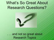 What's So Great About Research Questions? - OCM Boces