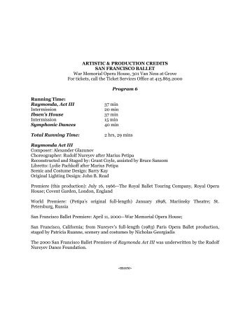 Program 6 (315 KB PDF) - San Francisco Ballet
