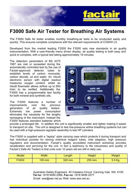 To Download Pdf Brochure On F3000 Air Analysis Test Kit