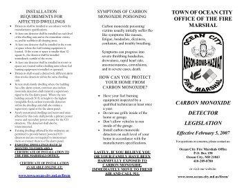 Carbon Monoxide Information Brochure - Town of Ocean City