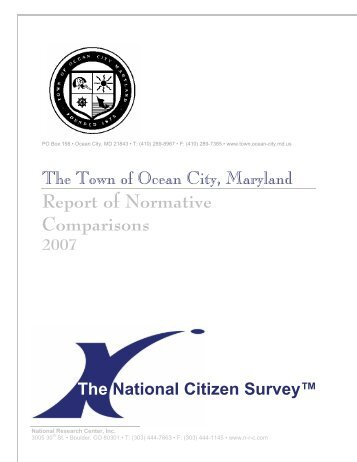 Report of Normative Comparisons 2007 - Town of Ocean City