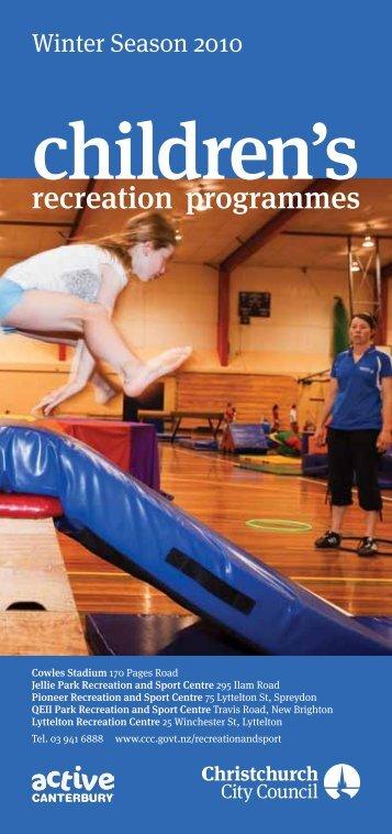 Children's Recreation Programmes - Christchurch City Council
