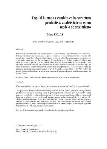 Capital humano y cambios en la estructura productiva ... - SciELO