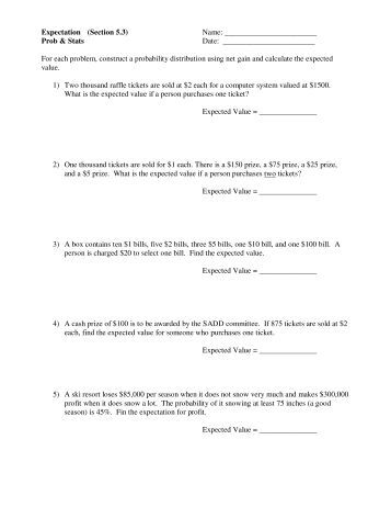 Worksheets Expected Value Worksheet expected value worksheet mathdotcom org on value