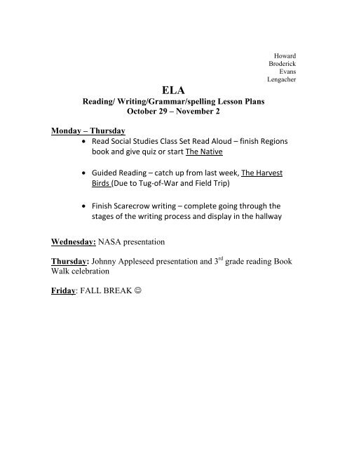 Lesson Plans Oct 29-Nov 2 - Anderson School District One