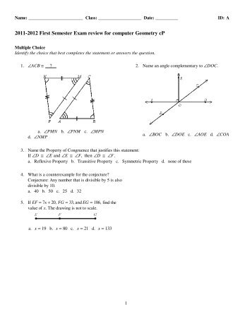 Geometry 2nd Semester Review Name