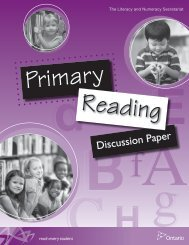 Primary Reader Discussion Paper - Curriculum Services Canada