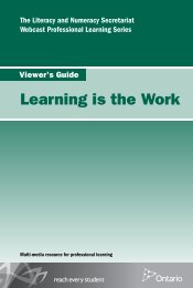 Learning is the Work - Curriculum Services Canada