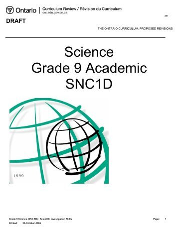 Science Grade 9 Academic SNC1D - Curriculum Services Canada