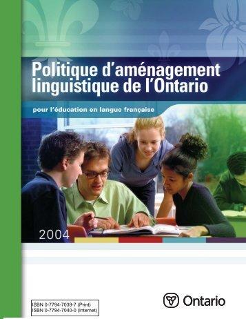 Politique d'aménagement linguistique - Ministère de l'éducation