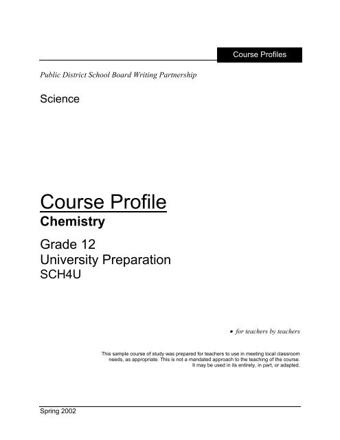 Course Profile - Curriculum Services Canada