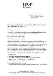 Info-Anlass Tourismus Oberaargau, Donnerstag, 27. Juni 2013, 16 Uhr
