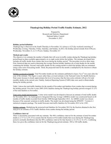 1 Thanksgiving Holiday Period Traffic Fatality Estimate, 2012