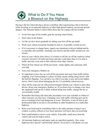 What to Do If You Have a Blowout on the Highway - National Safety ...