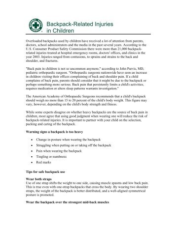 Backpack-related injuries in children - National Safety Council