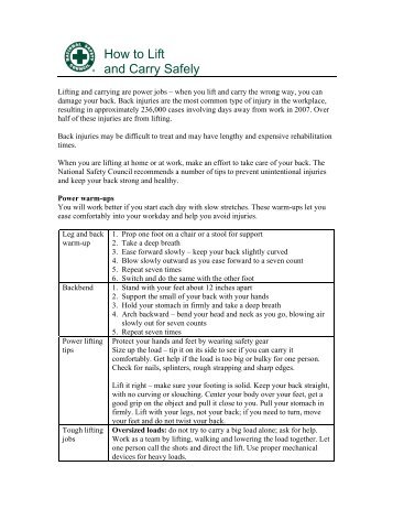 How to Lift and Carry Safely - National Safety Council