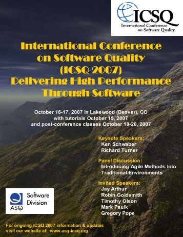 International Conference on Software Quality (ICSQ 2007 ...
