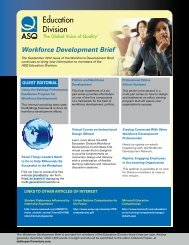 Workforce Development Brief - American Society for Quality