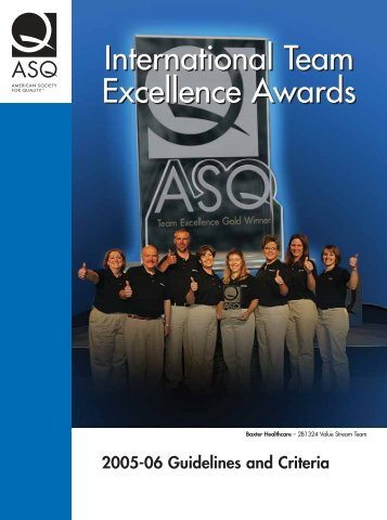 International Team Excellence Awards - American Society for Quality