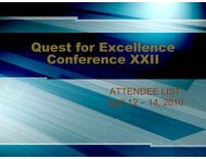 Quest for Excellence Conference XXII - American Society for Quality