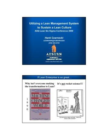 Utilizing a Lean Management System to Sustain a Lean Culture 1 9 ...