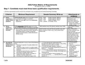 ASQ Fellow Matrix of Requirements - American Society for Quality