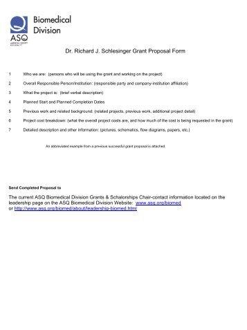 Dr. Richard J. Schlesinger Grant Proposal Form