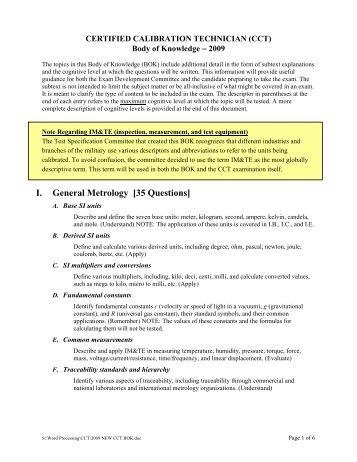 Certified calibration technician (cct)