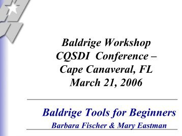 Baldrige National Quality Program 2006 - American Society for Quality