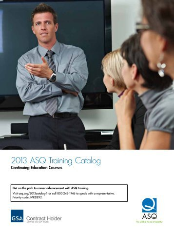2013 ASQ Training Catalog - American Society for Quality