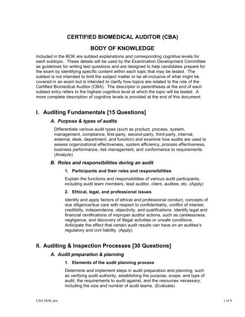 CERTIFIED BIOMEDICAL AUDITOR (CBA) BODY OF KNOWLEDGE ...