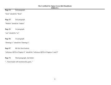 The Certified Six Sigma Green Belt Handbook - ASQ Groups