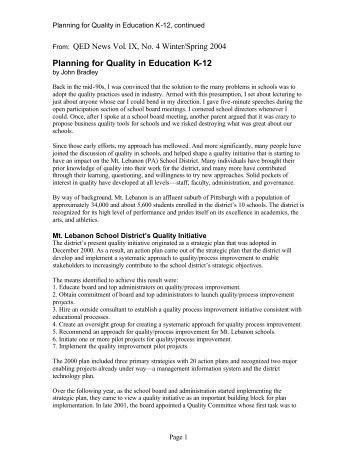 Planning for Quality in Education K-12