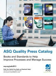 ASQ Quality Press Catalog - American Society for Quality