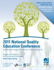 2011 National Quality Education Conference Brochure