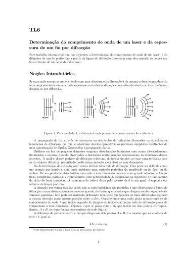Determinação do comprimento de onda de um laser e da espes ...
