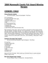 2009 Monmouth County Fair Award Winning Recipes COOKIES ...