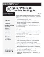 Unfair Practices: The Fair Trading Act - Alberta Motor Association