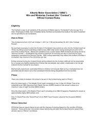 "Alberta Motor Association (""AMA"") Win and Winterize Contest (the ..."