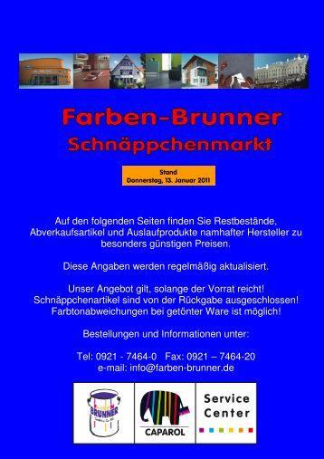 Schnäppchenmarkt NEU - Farben Brunner