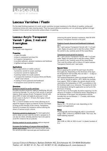Lascaux Varnishes Varnishes Varnishes ... - Arkivprodukter AS