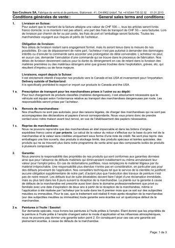 Conditions générales de vente:: General sales ... - Sax-Farben AG