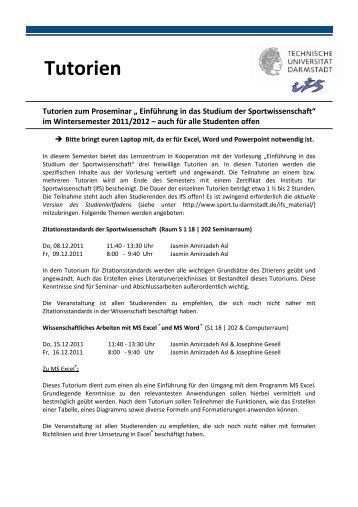 Tutorien Flyer WS10-11 - Institut für Sportwissenschaft