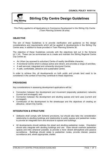 Stirling City Centre Design Guidelines - City of Stirling