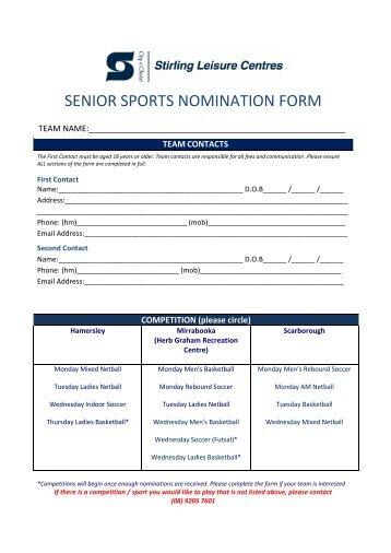 SLC Adult Sports Nomination Form - City of Stirling