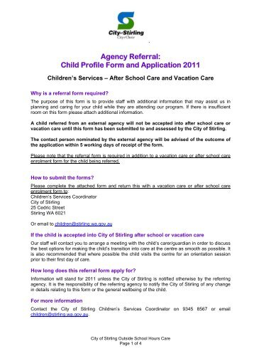 Agency Referral Child Profile Form - City of Stirling